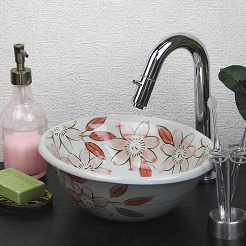 紅テッセン絵小判型手洗い鉢【ミニサイズ】信楽焼き手洗器!陶器の手水鉢[tr-1176]