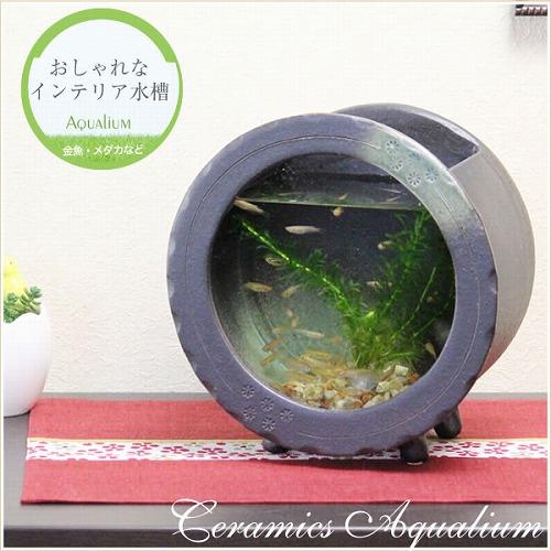 陶器水槽 信楽焼の丸型水槽(黒)[su-0123]