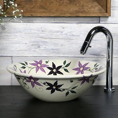 テッセン絵手洗い鉢【小型サイズ】 信楽焼き手洗器 陶器の手水鉢 陶器 丸型 [tr-2258]