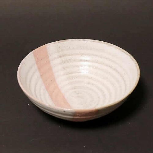 信楽焼 潮騒ライン(ピンク)飯碗 w310-06