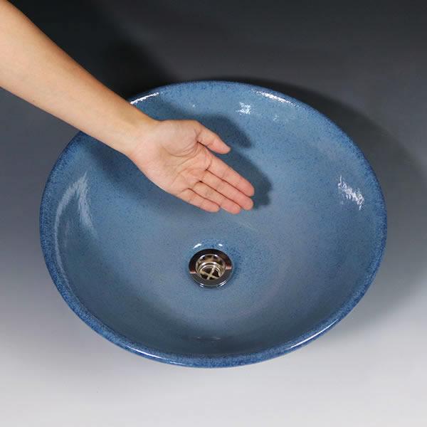 青磁手洗い鉢【中型サイズ】 信楽焼き手洗器 陶器の手水鉢 洗面ボウル [tr-3252]