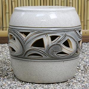 16号カスミ唐草ガーデンテーブルセット 陶器のテーブルセット 信楽焼き【4点セット】[te-0025]