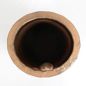 信楽焼きかさたて 火色小窓蛙傘立て 陶器[kt-0261]