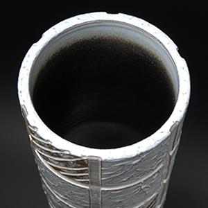 信楽焼きかさたて 白格子模様傘立て 陶器[kt-0123]