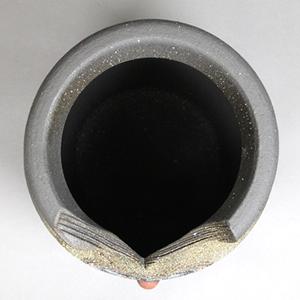 信楽焼きかさたて 茶ふくろう彫壷型傘立て 陶器[kt-0276]