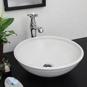 白マット手ひねり手洗い鉢【小型サイズ】信楽焼き手洗器!陶器の手水鉢[tr-2035]