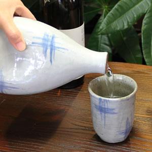 マイナスイオンボトル 信楽焼イオンのしずく(青はけめ)[ss-0071]