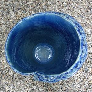 信楽焼きかさたて 青ガラスひねり傘立て 陶器[kt-0233]