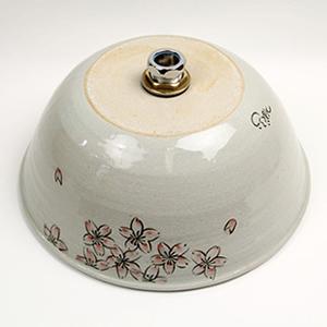 桜絵手洗い鉢【小型サイズ】信楽焼き手洗器!陶器の手水鉢[tr-2090]