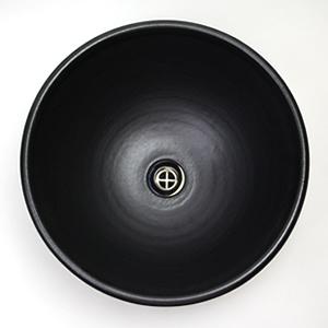 黒マット深型手洗い鉢【小型サイズ】信楽焼き手洗器!陶器の手水鉢[tr-2028]