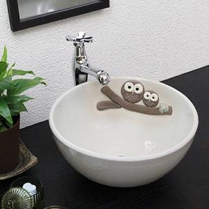 仲良しフクロウ(白)手洗い鉢【小型サイズ】信楽焼き手洗器!陶器の手水鉢[tr-2142]
