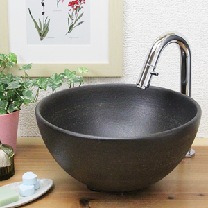 刷毛目手洗い鉢【小型サイズ】信楽焼き手洗器!陶器の手水鉢[tr-2143]