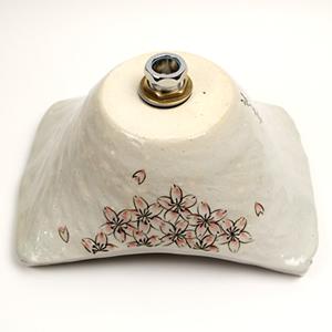 桜絵角型手洗い鉢【小型サイズ】信楽焼き手洗器!陶器の手水鉢[tr-2186]