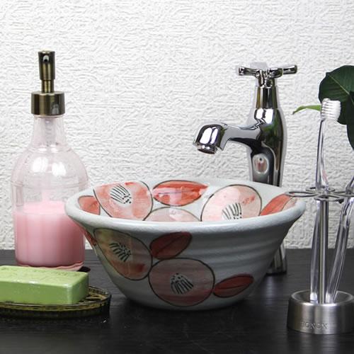 牡丹絵(ミニ)手洗い鉢【ミニサイズ】信楽焼き手洗器!陶器の手水鉢[tr-1173]