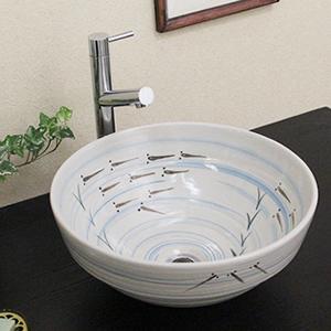 手描きめだか絵椀型手洗い鉢【中型サイズ】信楽焼き手洗器!陶器の手水鉢[tr-3065]