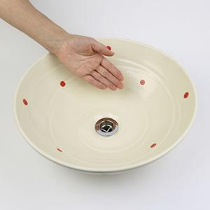 赤点々手洗い鉢【中型サイズ】信楽焼き手洗器!陶器の手水鉢[tr-3188]