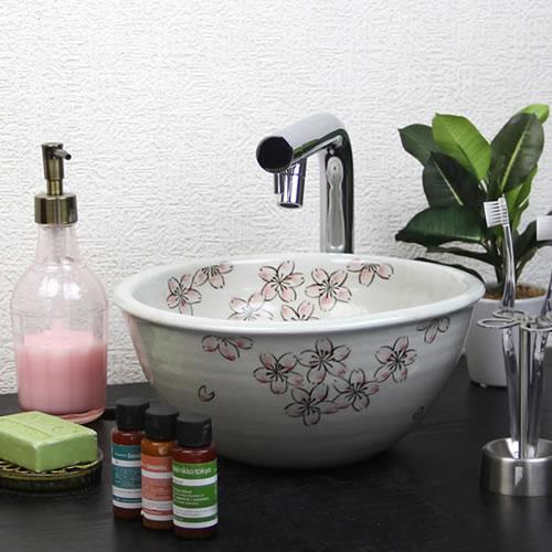 さくら絵(ミニ)手洗い鉢【ミニサイズ】信楽焼き手洗器!陶器の手水鉢[tr-1174]