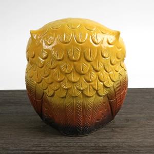 信楽焼きふくろう 7号福多郎(黄色) 陶器フクロウ置物[fu-0103]