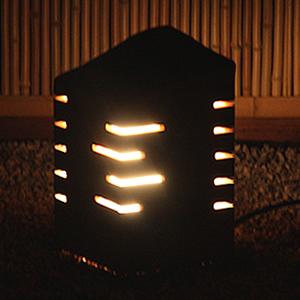 信楽焼きあかり あけぼの線光(小)庭園灯 あんどん 陶器灯り[ak-0073]