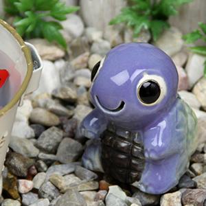 ミニ亀(紫色)  信楽焼かめ置き物[ok-0077]