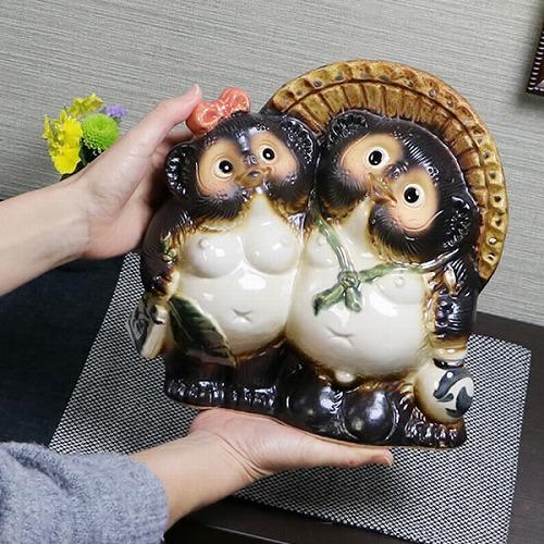 信楽焼きたぬき 8号アベック狸 陶器タヌキ [ta-0217]
