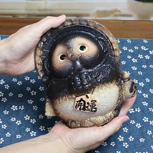 信楽焼きたぬき 5号古信楽風お願い狸! 陶器タヌキ[ta-0227]