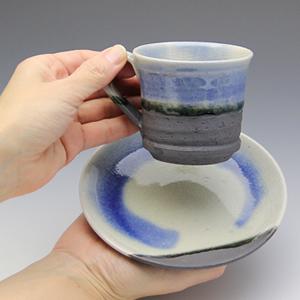 信楽焼コーヒーカップ!ブルーベリーコーヒー碗皿![w907-03]
