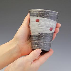 信楽焼フリーカップ!天の川(赤)ビアカップ!ビール、ジュース、コーヒーなどにお勧め[w901-10]