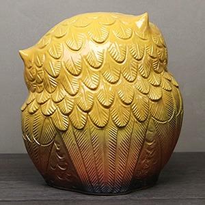信楽焼きふくろう 9号首かしげふくろう(黄色) 陶器フクロウ置物[fu-0136]