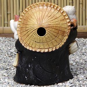 信楽焼きたぬき 13号ふくろう猫持ち狸 陶器タヌキ[ta-0251]
