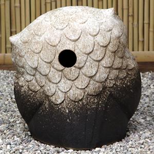 信楽焼きふくろう 14号首かしげふくろう(粉引き) 陶器フクロウ置物[fu-0137]