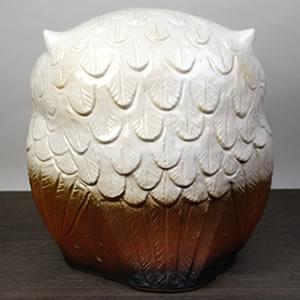 信楽焼きふくろう 10号福多郎(白) 陶器フクロウ置物[fu-0139]