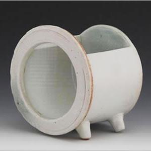 ミニサイズ 陶器水槽 信楽焼の丸型水槽(白)[su-0211]