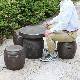 16号焦げ窯変ガーデンテーブルセット 陶器のテーブルセット 信楽焼き【4点セット】 [te-0015]