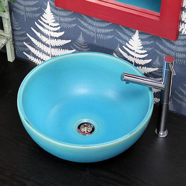 トルコブルー深型 手洗い鉢【中型サイズ】 信楽焼き手洗器 陶器の手水鉢 洗面ボウル [tr-3244]
