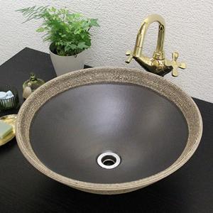 はけ目ソリ型手洗い鉢【中型サイズ】信楽焼き手洗器!陶器の手水鉢[tr-3033]