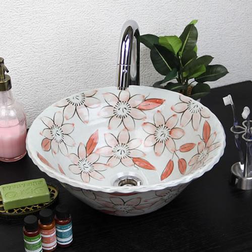 紅テッセン絵波口手洗い鉢【小型サイズ】信楽焼き手洗器!陶器の手水鉢[tr-2249]