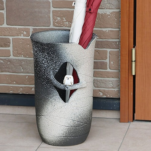信楽焼きかさたて 木のりフクロウ傘立て 陶器かさたて [kt-0037]