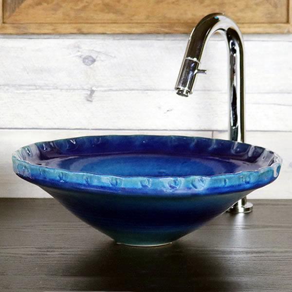 藍の色 手洗い鉢【小型サイズ】 信楽焼き手洗器 陶器の手水鉢 陶器 丸型 青色 [tr-2259]