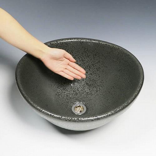黒斑点変形手洗い鉢 【埋め込み・据置き兼用タイプ】 信楽焼き手洗器!陶器の手水鉢 [tm-4121]