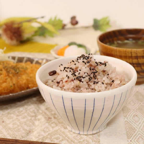 信楽焼 ライン(青・赤)夫婦飯碗 w309-05_06