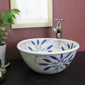 テッセン絵手洗い鉢【小型サイズ】信楽焼き手洗器!陶器の手水鉢[tr-2024]