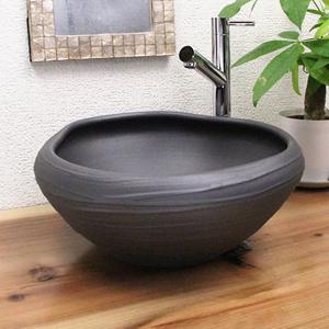 黒マットたわみ手洗い鉢【小型サイズ】信楽焼き手洗器!陶器の手水鉢[tr-2197]