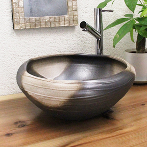 白黒ぼかしたわみ手洗い鉢【小型サイズ】信楽焼き手洗器!陶器の手水鉢[tr-2205]