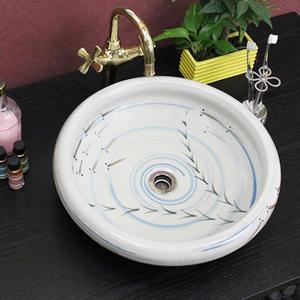 手描きめだか絵平型手洗い鉢【中型サイズ】信楽焼き手洗器!陶器の手水鉢[tr-3064]