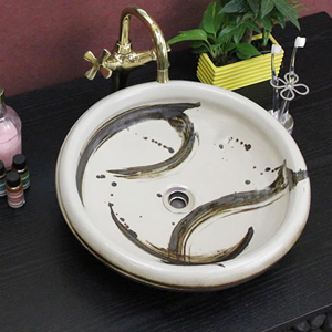 白マットハケメ手洗い鉢【中型サイズ】信楽焼き手洗器!陶器の手水鉢[tr-3019]
