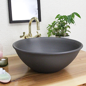 黒マット手洗い鉢【中型サイズ】信楽焼き手洗器!陶器の手水鉢[tr-3201]