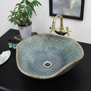 緑古信楽花型手洗い鉢【中型サイズ】信楽焼き手洗器!陶器の手水鉢[tr-3209]