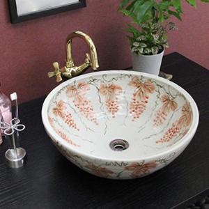紅ぶどう絵手洗い鉢【中型サイズ】信楽焼き手洗器!陶器の手水鉢[tr-3087]