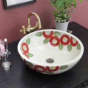 つばき絵手洗い鉢【中型サイズ】信楽焼き手洗器!陶器の手水鉢[tr-3196]
